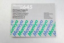 Mamiya M645 PD Prism Finder S Instruction Manual++English++Original++NICE