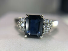 14k White Gold Emerald Cut Natural Blue Sapphire Round Diamond Ring 2.00 ct