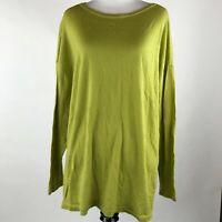 J. Jill Women Green Merino Wool Washable Long Sleeve Sweater sz 1X