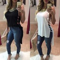 UK Womens Casual Chiffon Vest Top Sleeveless Blouse Loose Tank Long Tops T-Shirt