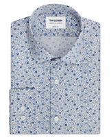 T.M.Lewin Mens Premium Liberty Fabric Camille Print Blue Single Cuff Shirt