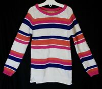 Girls TU White Pink Blue Stripe Knit Texture Long Line Warm Jumper Age 3-4 Years