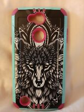 Wolf pink/blue Armor cell phone case for lg x charge cell phone