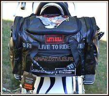 Sac sissi bar rectangulaire Cuir Souple multi patch live to ride route 66 moto