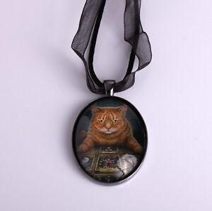 Ginger Cat Pendant Necklace 'The Reader' Design by Lisa Parker