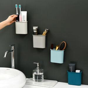 Wall-Mount Storage Box Toothbrush Holder Sticker Cups Bathroom Organizer Holders