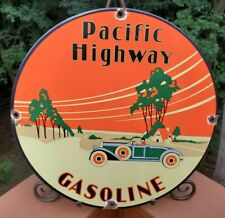 VINTAGE PORCELAIN  PACIFIC HIGHWAY GAS AND OIL SIGN