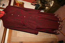 ALEXON SKIRT SUIT VINTAGE 12 BLOUSE RETRO GREAT BRITAIN BURGUNDY RED FLOWER CHIC