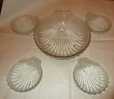 Five Salad Bowls, One large and Four Small, Glass, Shell Design