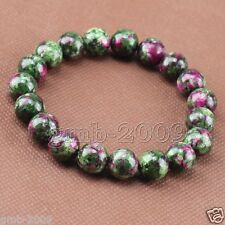 8mm Natural Green Ruby In Zoisite Round Gemstone Stretchy Bracelet