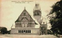 Memorial Hall Harvard University Cambridge Mass MA Vintage Sepia Postcard