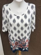 New Soldout Chico's Turkish Delight Blue White Easy Tee SS Top 3 = XL 16 18 NWT