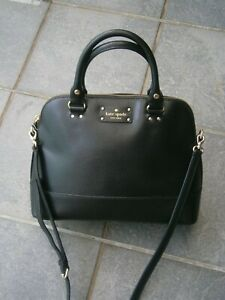 NEW KATE SPADE NEW YORK CARLI LEATHER HAND/CROSSBODY BLACK BAG.