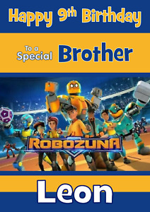 Robozuna personalised A5 Birthday card ANY Age Relation Name