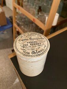 1850'S ADVERTISING POT LID DR E. I. COXE'S SARSAPARILLA POT LID NEW ORLEANS, LA