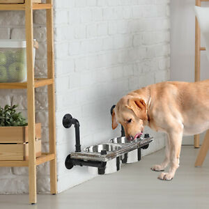 Wall Mounted Raised Pet Dog Feeder w/Torched Wood and Industrial Metal Pipe