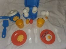 Vintage Fisher Price Fun with Play Food Eggs, Container, Plates and Silverware.