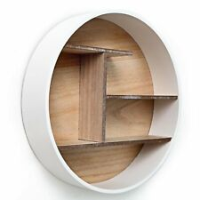 White Round Wall Mounted Shelf Storage Home Books Organiser Display Shelves Unit