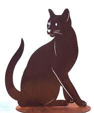 Katze Lotte sitzend schaut zurück 40cm Rost Edelrost Metall Figur Katzen Kater
