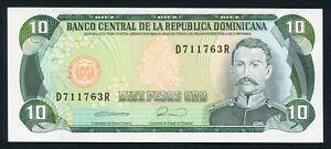 Dominican Republic 10 pesos oro 1990 Matías Ramón Mella & Miner P132 UNC