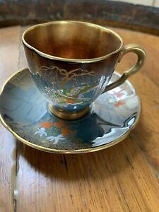 Carltonware Blue Gold Royale Demi Tasse Sketching Bird C 1930 Cup Saucer Carlton