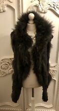 Boutique Brown Real Rabbit And Fox Fur Hooded Gilet Bodywarmer  One Size