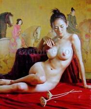 Leinwand Bilder Ölgemälde sexy Nackte Mädchen Wandbild Kunstdruck Bild Wand Deko