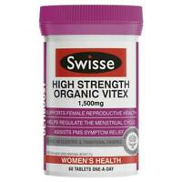 SWISSE HIGH STRENGTH ORGANIC VITEX 1500MG 60 TABLETS FEMALE REPRODUCTIVE HEALTH