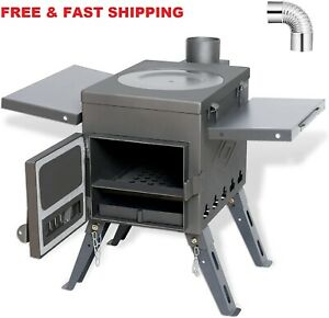 Camp Tent Stove, Portable Wood Burning Stove for Tent, Shelter, Camping
