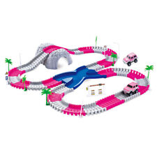 Pink Toy Car Magic Track 2 Cars and Crossover - Bendy Road Racetrack Tunnel Set