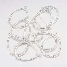 10 Chandelier Earring Findings Shiny Silver Drop Pendants Eardrop Connectors