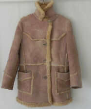 Vtg Justin Shearling Fur/Leather Coat Extra Rare Coat Pockets Size M