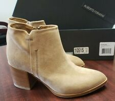 ALBERTO FERMANI $450 Size 38.5 Anzio Sahara Suede Leather Zip Ankle Boot Booties