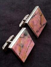 Exquisite Fenwick & Sailors sterling silver & rhodonite cufflinks, 21 grams