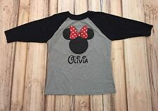 Custom MINNIE MOUSE Glitter Raglan Sleeve Tee Sz XL 14 16 Youth OLIVIA Monogram
