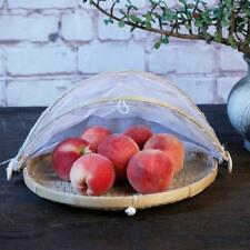 Pack 2 Bamboo Plate Handmade Round Fruit Baskets Storage with Cover Net S L