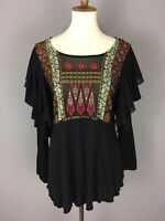 Free People Party's Not Over Embroidered Swiss Dot Ruffle Peplum Blouse Top $88
