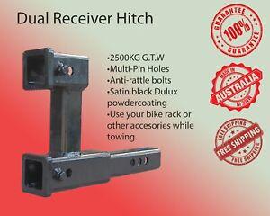 Dual Hitch Receiver Multi Tow Bar Trailer Camper Bike Rack Towing