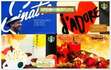 4x WALMART STARBUCKS J'ADORE LOVE CAKE FRANK SINATRA COLLECTIBLE GIFT CARD LOT