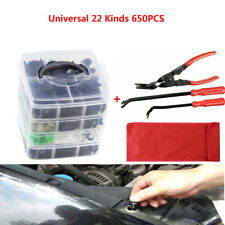 650X Universal Car Buckle Kit Boxed + 3Pcs Car Clip Plier Set & Fastener Remover (Fits: More than one vehicle)