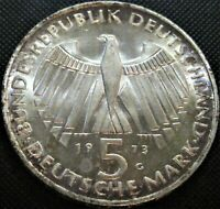 1973 G Germany  5 Mark, 125th Ann.-Frankfurt Parliament-Silver Proof Coin KM#137