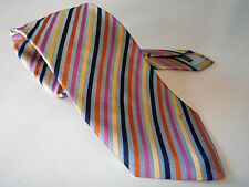JAEGER MADE IN ITALY 100% SILK NECK TIE BLUE ORANGE PINK BEIGE STRIPE CRAVAT