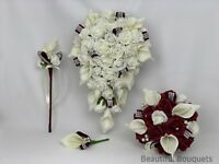 Wedding Flowers Ivory burgundy Rose Calla lily Bouquets Bride, Bridesmaid wands