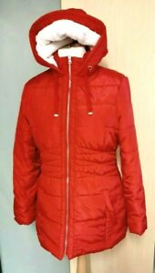 Cotton Traders Puffa Padded Winter Coat Red Size 14 Hooded Ladies Womens