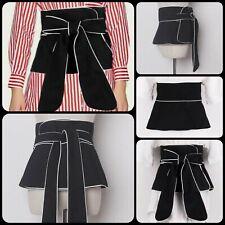 Unique Womens Linen Black Wide Waist White Contrast Color Tie Wrap Belt OS