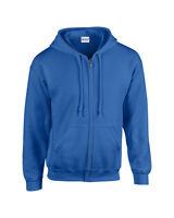 Plain Gildan Zipped Heavy Blend Hoodie Hoody Hooded Sweatshirt Top Sweat Jumper