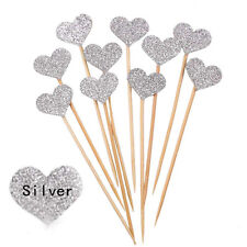 10x Glitter Love Heart Wedding Cake Topper Souvenirs Birthday Party Decoration B Silver
