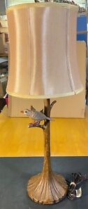 Vintage Bird on Branch Table Lamp with Shade  NICE AND HEAVY ***READ