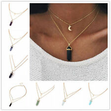 Double Layer Natural Stone Crystal Opalas Chain Choker Quartz Necklace Jewelry