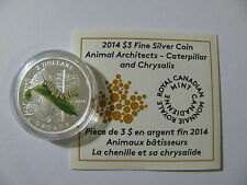 2014 Proof $3 Animal Architects #3-Caterpillar&Chrysalis Canada COIN&COA ONLY .9